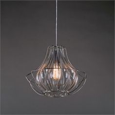 Wire & Glass Pendant Light