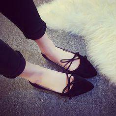 Tienda Online Mujeres zapatos planos 2016 estilo coreano zapatos de Ballet  del Bowtie damas elegantes boca baja pisos punta estrecha 4c7b731099b