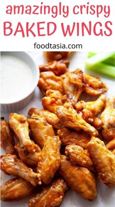 Easy Baked Chicken Wings, Baked Chicken Recipes, Crispy Wings Recipe, Easy Chicken Wing Recipes, Chicken Wing Sauces, Crispy Baked Wings, Marinade For Chicken Wings, Oven Baked Wings, Healthy Wings Recipe