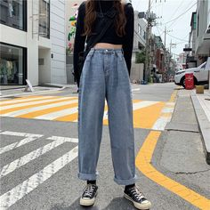 Buy Dute Straight Fit Jeans | YesStyle Vintage Outfits, Retro Outfits, Girl Outfits, Fashion Outfits, Vintage Jeans, Aesthetic Fashion, Aesthetic Clothes, Look Fashion, Mode Grunge