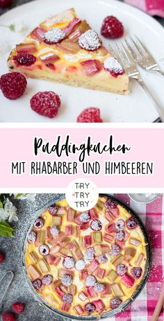Puddingkuchen mit Rhabarber und Himbeeren Torta budino con rabarbaro e lamponi Flaky Pastry, Sausage And Egg, Albondigas, Pudding Cake, Fall Baking, Healthy Dessert Recipes, Cookies Et Biscuits, Easter Recipes, Raspberry