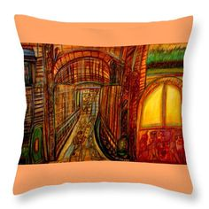 Abstract Throw Pillow featuring the painting The Watchers by Stephanie Zelaya