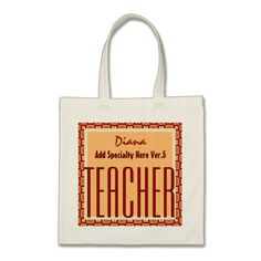 TEACHER Add Specialty and Custom Name V5 TAN RED Canvas Bag To see customizable totes visit http://www.zazzle.com/jaclinart/gifts?cg=196427799858145824  #monogram #tote #wedding #jaclinart #bridesmaid