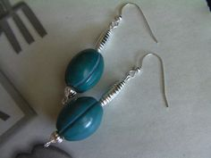 Long Turquoise Color Dangle Earrings Trendy by ArtisticSparkle, $25.00