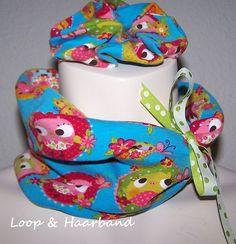 Set Eulen-Owls-Loop+Zopfgummi    aus kunterbuntem Baumwolljersey   &    einem schmalen Polka Dots Webbändchen ( abnehmbar )        Frühlingsleicht und trotzdem kuschlig !!     dehnbar     zu tragen bis zur Größe 46 -  54 ( Kopfumfang )