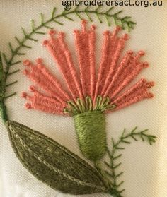 Salmon Needlewoven Flower from Jane Nicholas Mirror 2 stitched by Lorna Loveland