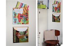 Paper and Stitch shows us how to whip up these fun and colorful Easy Album Cover Wall Organizers. I see so many attractive album covers at the thrift Paper Storage, Paper Organization, Wall Storage, Classroom Organization, Diy Album Cover Wall, Album Covers, Wand Organizer, Fabric Covered Walls, Vinyl Record Art