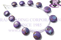Purple Copper Turquoise Smooth Coin (Quality AAA) Shape: Coin Smooth Length: 18 cm Weight Approx: 10 to 12 Grms. Size Approx: 11 to 12 mm Price $19.80 Each Strand