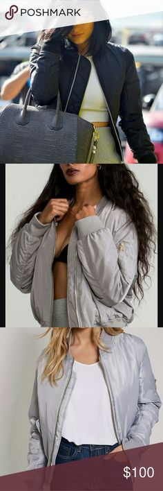 Bomber Jacket <3 Light Grey/Silver Color, Comfy, Gold Zippering, Versatile & Stylish! Jackets & Coats
