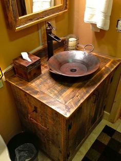 meuble de salle de bain rustique en bois