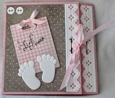 Our Little Inspirations: Welcome Baby Girl Homemade Greeting Cards, Homemade Cards, Invitacion Baby Shower Originales, Handmade Sheet, Grandma Cards, Baby Girl Scrapbook, Welcome Baby Girls, Card Making Templates, Birth Announcement Girl