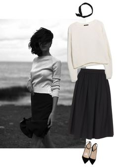 A fashion look from September 2014 featuring Mango sweaters, skirts and Christian Louboutin shoes. Browse and shop related looks. Mode Style, Style Me, Black Midi Skirt, Pleated Skirt, Summer Dress, Street Style, Mode Inspiration, Fashion Inspiration, Minimal Fashion