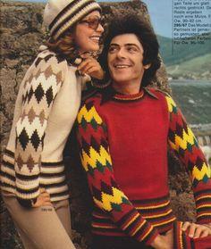 Años 70' - Suéters Moda Unisex - Revista Burda.