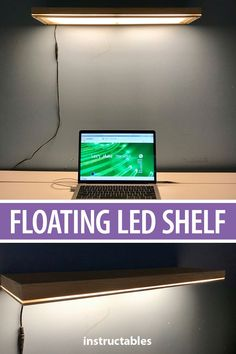 Brighten up your workspace with a floating LED shelf lamp. Extra Storage Space, Storage Spaces, Shelf Lamp, Skill Tools, Desk Setup, Led, Diy Electronics, Lighting Solutions, Cleaning Solutions