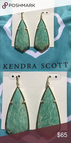 """Kendra Scott Caroline earrings Natural Amazonite evokes watercolor-inspired hues, and the sloping angles of our kite silhouette give our Carla Earrings an artful, feminine appeal.  DETAILS • 14K Gold Plated Over Brass • Size: 1.85""""L x 0.72""""W • Material: amazonite* Kendra Scott Jewelry Earrings"""