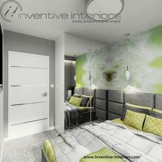 Projekt sypialni Inventive Interiors - Zielona fototapeta w sypialni