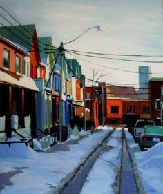 """""""Queen and Manning, Winter"""" oil on panel, by Brian Harvey"""