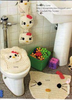 My Crochet , Mis Tejidos: Juego de Baño KITTY.