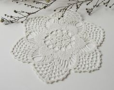 Hand crocheted doily. Round cotton doily. Small lace by LiloUnique