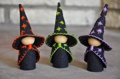 The Three Little Wooden and Wool Felt Witches are a wonderful toy and would be the perfect addition to an autumn nature table and for your Halloween storytelling. The little witches have been hand embroidered with a purple, orange, and green trim and a starred cloak and hat. They are made of wood peg dolls and wool blend felt and measure 4 inches tall. The three little witches are ideal for children three years of age and older and would be a wonderful way to introduce Halloween to your…