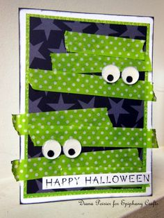 It's getting spooky at Epiphany Crafts… Halloween card Halloween Paper Crafts, Halloween Fun, Handmade Halloween Cards, Fall Cards, Holiday Cards, Epiphany Crafts, Washi Tape Cards, Halloween Scrapbook, Thanksgiving Cards
