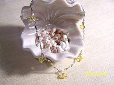 Yellow Swarovski Crystal & Chain Anklet by lindasoriginaljewels, $10.50