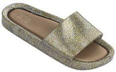 Mel by Melissa Beach Slide-Mixed Gold Glitter