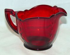 Paden City Glass Crows Foot Line #890 Creamer in Ruby circa 1930's by VintageGlassGoddess on Etsy