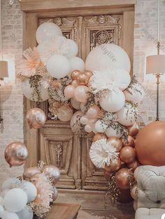 Balloon Arch, Balloon Garland, Champagne Balloons, Confetti Balloons, Deco Baby Shower, Bridal Shower, Deco Ballon, Birthday Balloon Decorations, First Birthday Balloons