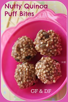 No Bake Gluten and Dairy Free Nutty Quinoa Bites. Its a very versatile base recipe - nut butter, vanilla, cereal, honey and whatever nuts, seeds and fun toppings you want to throw in there. Gluten Free Desserts, Dairy Free Recipes, Dog Food Recipes, Snack Recipes, Cooking Recipes, Vegan Desserts, Dessert Recipes, Healthy Sweets, Healthy Snacks