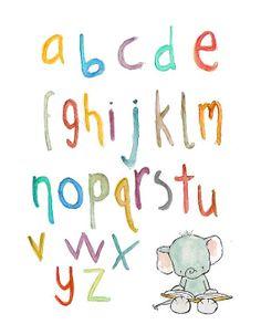 Nursery Art  Elephant Alphabet in Multicolor  by trafalgarssquare, $10.00