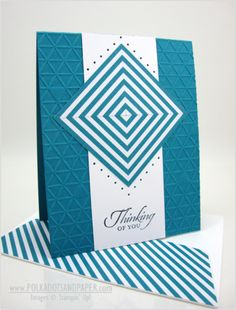 Stampin' Up!  ... handmade card ... blue and white ... geometric design ... small triangle embossing folder texture ... luv the used of striped paper to make the square pattern for the focal point piece ... luv it!