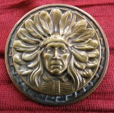 LG Antique Victorian Brass Metal Picture Button Indian Chief Feathers