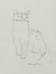 Tsuguharu Foujita (1886-1968) - Ink drawing of a sitting cat