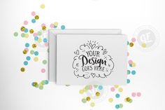Pastel confetti greeting card mockup with smart objects PSD (landscape) 0009-19 from DesignBundles.net
