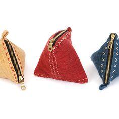Eco Hemp Stitch Triangle Purse...modern and cute!