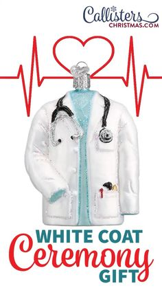 Our personalized glass Christmas ornaments are a great gift for a doctor, medical student or as a White Coat Ceremony gift. Doctors study and work very hard to earn the opportunity to wear a laboratory coat. While this white coat's purpose is to simply protect the doctor's clothing and act as a simple uniform, the symbolism of the coat is greater than its function. Dedigned by Old World Christmas, sold by Official Retailer Callisters Christmas. Old World Christmas Ornaments, Christmas Gift Box, White Coat Ceremony, Doctor Coat, Ornament Hooks, Medical Humor, Medical Technology, Personalized Christmas Ornaments, Graduate School