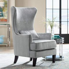Luxuriate in the comfort and subtle wingback styling of this silver alligator print armchair with complementary chrome nailhead trim for extra shine. high x 30 wide x deep x arm height. x lumbar pillow included. Style # at Lamps Plus. Velvet Wingback Chair, Swivel Chair, Oversized Chair, Formal Living Rooms, Furniture Inspiration, Furniture Ideas, Room Inspiration, Design Inspiration, Occasional Chairs