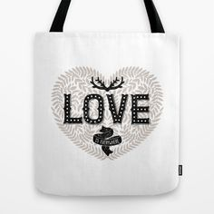 Romantic Typography poster with hand drawn lettering, Love is everywhere Tote Bag by Tatiana Karpenko | Society6