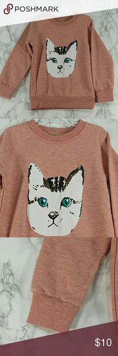 Heather Pink Cat. Kids Adorable and comfortable Heather Pink sweatshirt with a cute design.  Front have a small dark spot.  Refer to images.  Reflect on the price.  This item is brand new and never used Shirts & Tops Sweatshirts & Hoodies