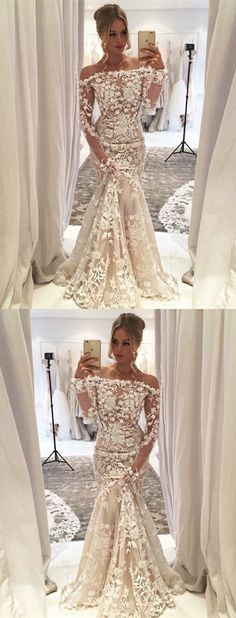 unique ivory mermaid prom dresses. stunning off the shoulder lace party dresses, modest evening gowns with sleeves