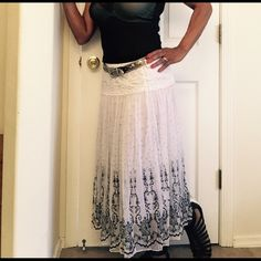 Versatile Boho Style Skirt Boho style, elastic waist, fully Can be worn as a maxi length skirt or as a tube style dress.  Fully lined, perfect for summer. Local Skirts