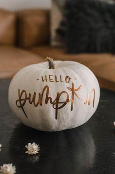 Beautiful matte metallic pumpkins? Heck yes! Plus I'm sharing my hand lettered 'Hello Pumpkin' Cut file for free! #CutFile #PumpkinDecor #HelloPumpkin