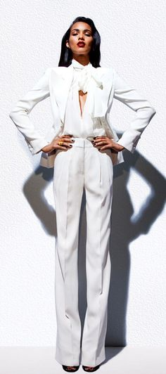 white #pantsuit ... Always check the web portal for 5 appropriate appearances by using all these irresistible white dress check http://topfashiondesigners.us/5-perfect-looks-with-white-dress/