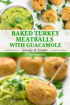 These tender baked turkey meatballs are made with fresh guacamole and smoky chipotle peppers in adobo sauce. Made with lean ground turkey, fresh Sabra guacamole, chipotle peppers and garlic... three of these baked meatballs are just 99 calories! #appetizers #holidays #snacks #easyrecipes #healthyrecipes Gluten Free Recipes For Lunch, Easy Turkey Recipes, Lunch Recipes, Healthy Recipes, Dinner Recipes, Ground Turkey Meatballs, Fresh Guacamole, Healthy Meals For Kids, Eat Healthy
