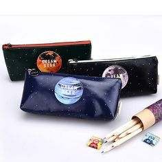 """Dream Star"" 1pc Faux Leather Cute Pencil Case Box Bag Zip Around Big Pocket"