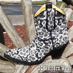 Check out JCWesternWear.com for Corral Black/White Floral Lace Embroidery Short Boots! Only $239.98!