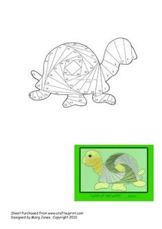 Turtle Iris Folding Pattern on Craftsuprint designed by Margaret Jones - Send a card with this cute turtle on to someone who is a little slow in writing (or anything else!) - Now available for download!