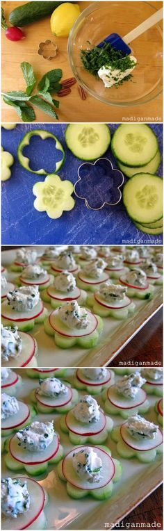 Garden fresh herbed cucumber flower bites - recipe...pipe cheese topping for pretty design