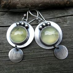 Earrings | Lisa Hendrick.  Sterling silver and prehnite.